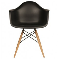 Eames Style DAW Dining Armchair with Wood Eiffel Legs in Black