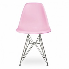 Eames Style DSR Dining Shell Chair with Steel Eiffel Legs in Pink