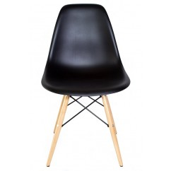 DSW Dining Shell Chair with Wood Eiffel Legs in Black