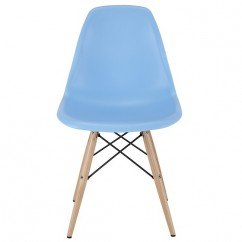 DSW Dining Shell Chair with Wood Eiffel Legs in Sky Blue
