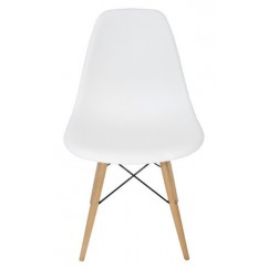 DSW Dining Shell Chair with Wood Eiffel Legs in White