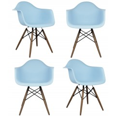 4 X Eames Style DAW Dining Armchair with Dark Walnut Eiffel Legs in Sky Blue
