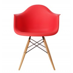 Eames Style DAW Dining Armchair with Wood Eiffel Legs in Red