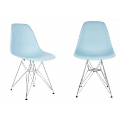 2 X DSR Dining Shell Chair with Steel Eiffel Legs in Sky Blue