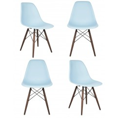 4 X DSW Dining Shell Chair with Dark Walnut Eiffel Legs in Sky Blue