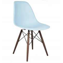 DSW Dining Shell Chair with Dark Walnut Eiffel Legs in Sky Blue