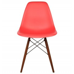 DSW Dining Shell Chair with Dark Walnut Eiffel Legs in Red