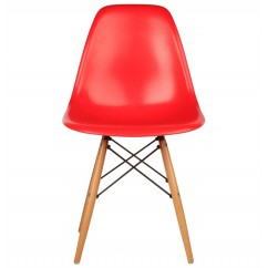 Eames Style DSW Dining Shell Chair with Wood Eiffel Legs in Red
