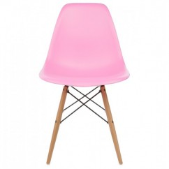 DSW Dining Shell Chair with Wood Eiffel Legs in Pink