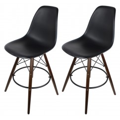 2 X Black Eames Style DSW Bar Stool with Dark Walnut Wood Eiffel Legs