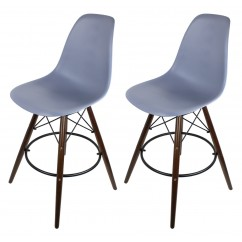 2 X Dark Gray Eames Style DSW Bar Stool with Dark Walnut Wood Eiffel Legs