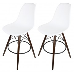 2 X White DSW Bar Stool with Dark Walnut Wood Eiffel Legs