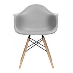 Eames Style DAW Dining Armchair with Wood Eiffel Legs in Gray