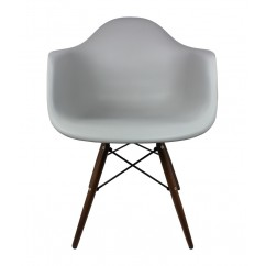Eames Style DAW Dining Armchair with Dark Walnut Wood Eiffel Legs in Gray