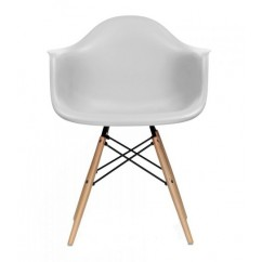 Eames Style DAW Dining Armchair with Wood Eiffel Legs in Light Gray