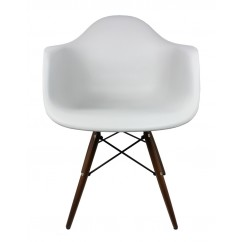 Eames Style DAW Dining Armchair with Dark Walnut Wood Eiffel Legs in Light Gray