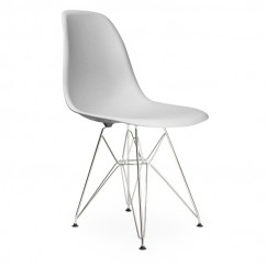DSR Dining Shell Chair with Steel Eiffel Legs in Light Gray