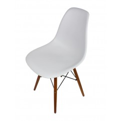 DSW Dining Shell Chair with Dark Walnut Eiffel Legs in Light Gray