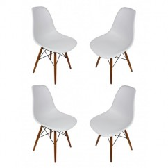 4 X DSW Dining Shell Chair with Dark Walnut Eiffel Legs in Light Gray