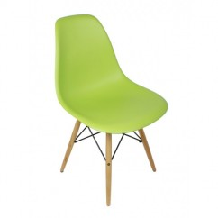 Eames Style DSW Dining Shell Chair with Wood Eiffel Legs in Light Green