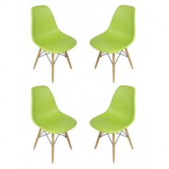 4 X DSW Dining Shell Chair with Wood Eiffel Legs in Light Green