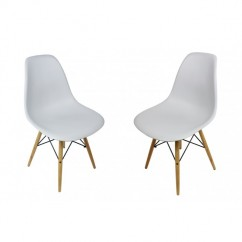 2 X Eames Style DSW Dining Shell Chair with Wood Eiffel Legs in Light Gray