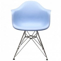 Eames Style DAR Dining Armchair with Steel Eiffel Legs in Sky Blue