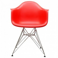 Eames Style DAR Dining Armchair with Steel Eiffel Legs in Red