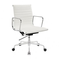 Eames Style Management Designer Top Grain Leather Office Chair In White