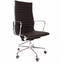 Eames Style Executive Designer Top Grain Leather High Office Chair In Black
