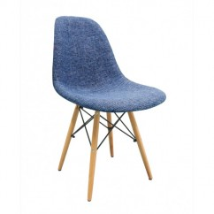 Fabric Upholstered DSW Shell Chair with Wood Eiffel Legs in Blue