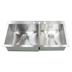 43 Inch Top-Mount / Drop-In Stainless Steel Double Bowl Kitchen Sink Zero Radius Design