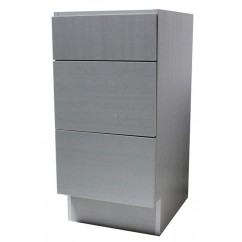 15 Inch European Design Bathroom Vanity 3-Drawer Cabinet Base Gray Textured Finish