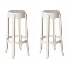 2 X Victoria Ghost Style White Color Bar Stool