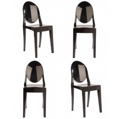 4 X Victoria Style Black Color Ghost Dining Chair