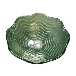 16-1/2 Inch Green Pearl Shell Design Glass Countertop Bathroom Lavatory Vessel Sink