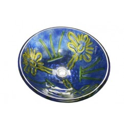 16-1/2 Inch Van Gogh Abstract Design Glass Countertop Bathroom Lavatory Vessel Sink