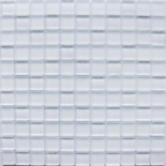 Frosted White Matte Finish Glass Mosaic Tile Mesh Backed Sheet
