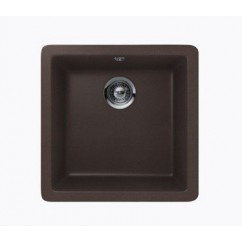 Mocha Brown Quartz Composite Single Bowl Undermount / Drop In Kitchen Sink - 17-11/16 x 16-15/16 x 8 Inch