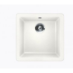 White Quartz Composite Single Bowl Undermount / Drop In Kitchen Sink - 17-11/16 x 16-15/16 x 8 Inch