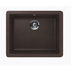 Mocha Brown Quartz Composite Single Bowl Undermount / Drop In Kitchen Sink - 21-5/8 x 16-15/16 x 8 Inch