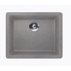 Sleek Chrome Quartz Composite Single Bowl Undermount / Drop In Kitchen Sink - 21-5/8 x 16-15/16 x 8 Inch