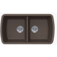 Mocha Brown Quartz Composite 50/50 Double Bowl Undermount Kitchen Sink - 33-1/16 x 18-15/16 x 9-3/8 Inch