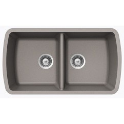 Chrome Quartz Composite 50/50 Double Bowl Undermount Kitchen Sink - 33-1/16 x 18-15/16 x 9-3/8 Inch
