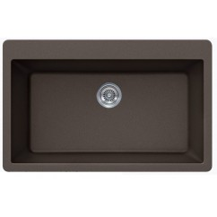 Mocha Brown Quartz Composite Single Bowl Undermount / Drop In Kitchen Sink - 33 x 21 x 9 Inch