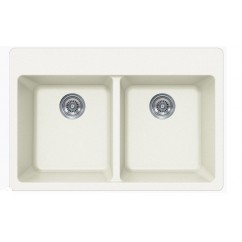 White Quartz Composite Double Bowl Undermount / Drop In Kitchen Sink - 33 x 22 x 9 Inch