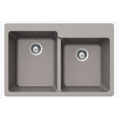 Chrome Quartz Composite 60/40 Double Bowl Undermount / Drop In Kitchen Sink - 33-1/16 x 22 x 9-3/4 Inch