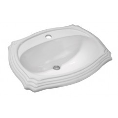 Porcelain Ceramic Vanity Drop In Bathroom Vessel Sink - 23 x 19 x 8 Inch
