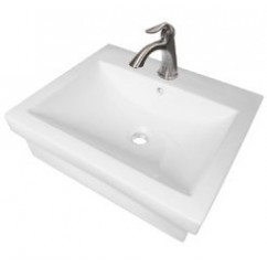 21-1/2 Inch Rectangular Porcelain Ceramic Single Hole Countertop Bathroom Vessel Sink