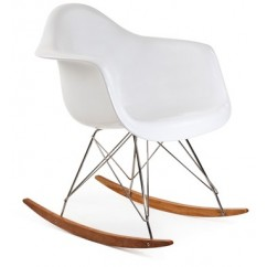 RAR Plastic Rocking Chair with Steel Eiffel Legs in White